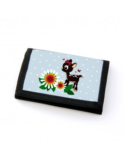 Portemonnaie Geldbörse Brieftasche Rehlein mit Blumen Schmetterlingen und Punkten gf22 Wallet purse billfold Little deer with flowers butterflies and points gf22