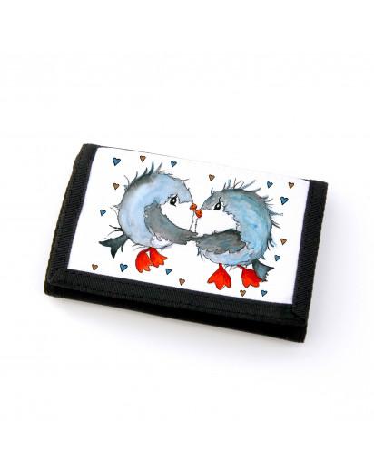 Portemonnaie Geldbörse Brieftasche Vögel Vögelchen verliebt gf32 Wallet purse billfold birds birdcouple in love gf32