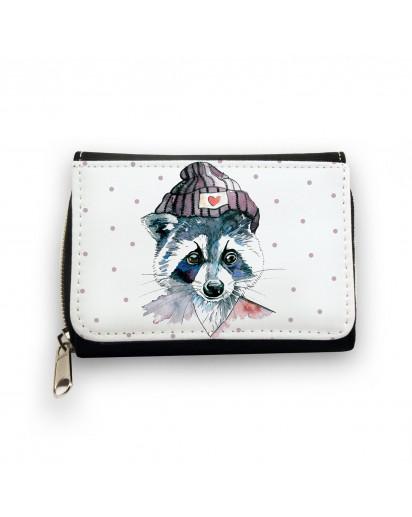 Hauptbild Portemonnaie Geldbörse Waschbär mit Mütze und Punkte wallet purse raccoon with cap and dots gk050