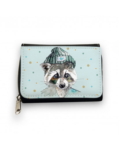 Hauptbild Portemonnaie Geldbörse Waschbär mit Mütze und Punkte in hellblau wallet purse raccoon with cap and dots in light blue gk052