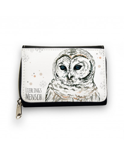 Hauptbild Portemonnaie Geldbörse Schneeeule mit Punkten Schneeflocken und Spruch Lieblingsmensch wallet purse snow owl with dots snowflakes and saying favourite person gk059