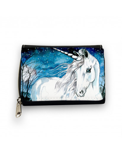 Hauptbild Portemonnaie Geldbörse Einhorn im Zauberwald mit Sternenhimmel wallet purse unicorn in magic forest with starlit sky gk063