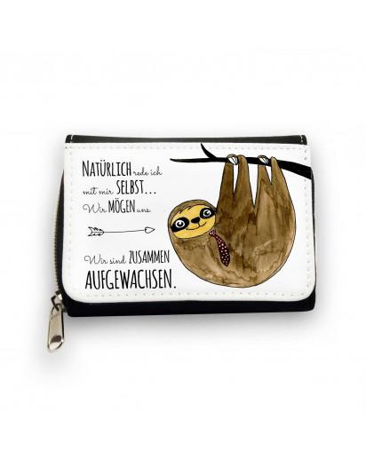Geldbörse Faultier auf Baum mit Spruch natürlich rede ich mit mir selbst… Wallet sloth on tree with saying of course i talk to myself… gk084