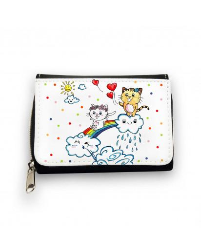 Geldbörse Kätzchen auf Regenbogen mit Wolken Herzen und Punkten Wallet kitten on rainbow with clouds heart and dots gk086