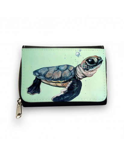 Geldbörse Meeresschildkröte Schildkröte mit Wasserblasen Bubbles Wallet turtle sea turtle with water bubbles gk088