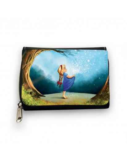 Geldbörse Märchen Sterntaler Mädchen im Wald mit Sternenhimmel wallet fairy-tale star money girl in forest with starlit sky gk070