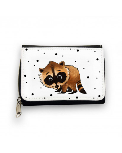 Geldbörse Brieftasche Portemonnaie Waschbär mit Punkten wallet purse billford raccoon with dots gk080