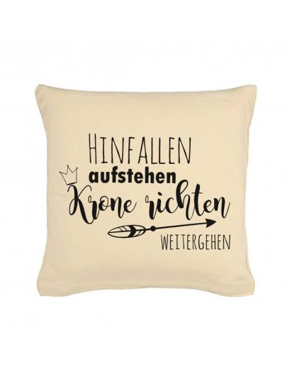 Kissen mit Spruch Hinfallen Aufstehen Krone richten Weitergehe Pillow saying fall get up check Crown walk on