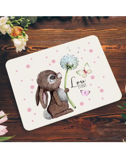 Frühstücksbrett aus Kunststoff Hase mit Pusteblume & Wunschnamen für Kinder & Erwachsenen Frühstücksbrettchen Schneidebrett Küchenbrettchen kb3