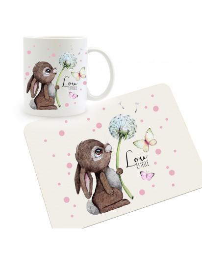Frühstücksset Set aus Kunststoffbrett Hase mit Pusteblume & Wunschnamen für Kinder & Erwachsenen Frühstücksbrettchen Schneidebrett kb3Set