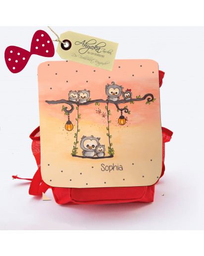 "Hauptbild Rucksack Kinderrucksack Kindergartentasche Kindertasche Tasche Eulen auf Schaukel ""Sommerabend"" mit Punkten und Wunschname kids backpack kindergarden bag child bag owls on swing ""summer's eve"" with dots and desired name kgn"
