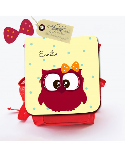 Hauptbild Rucksack Kinderrucksack Kindergartentasche Kindertasche Tasche Eule Emilia mit Punkten und Wunschname kids backpack kindergarden bag child bag owl Emilia with dots and desired name kgn007
