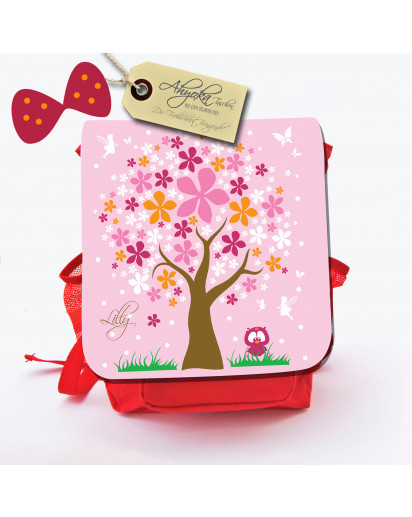 Hauptbild Rucksack Kinderrucksack Kindergartentasche Kindertasche Tasche Elfenbaum mit Eule und Wunschnamen kids backpack kindergarden bag child bag elves tree with owl and desired name kgn011