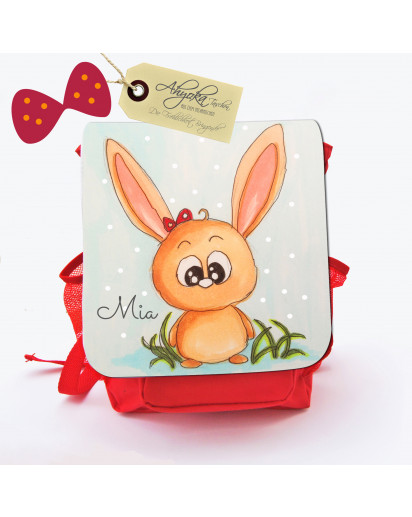 Hauptbild Rucksack Kinderrucksack Kindergartentasche Kindertasche Tasche Hase Häschen Kaninchen Helene mit Punkten und Wunschnamen kids backpack kindergarden bag child bag rabbit bunny Helene with dots and desired name kgn013