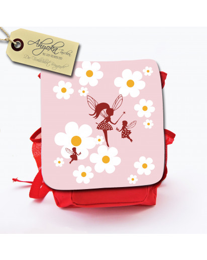 Hauptbild Rucksack Kinderrucksack Kindergartentasche Kindertasche Tasche Feen Elfen mit Gänseblümchen und Wunschnamen kids backpack kindergarden bag child bag elves fairies with daisies and desired name kgn020