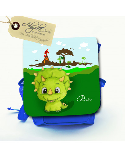 Hauptbild Rucksack Kinderrucksack Kindergartentasche Kindertasche Tasche Dinosaurier Karli mit Wunschnamen kids backpack kindergarden bag child bag dinosaur Karli with desired name kgn027