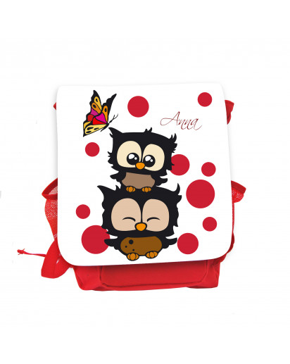 Hauptbild Rucksack Kinderrucksack Kindergartentasche Kindertasche Tasche Eulchen mit Schmetterling roten Punkten und Wunschnamen in weiß kids backpack kindergarden bag child bag owls with butterfly red dots and desired name in white kgn030