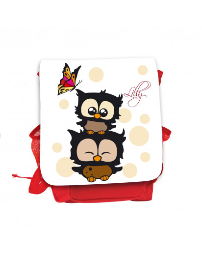 Hauptbild Rucksack Kinderrucksack Kindergartentasche Kindertasche Tasche Eulchen mit Schmetterling beigen Punkten und Wunschnamen in weiß kids backpack kindergarden bag child bag owls with butterfly beige dots and desired name in white kgn031