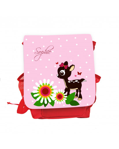 Hauptbild Rucksack Kinderrucksack Kindergartentasche Kindertasche Tasche Reh Rehkitz mit Blumen Punkten Schmetterlingen und Wunschnamen in rosa kids backpack kindergarden bag child bag deer fawn with flowers dots butterflies and desired name in rose kgn03
