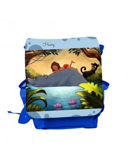 Kinderrucksack Dschungeltiere Bär und Puma mit Wunschnamen kgn047 Kids backpack jungle animals bear and puma with desired name kgn047
