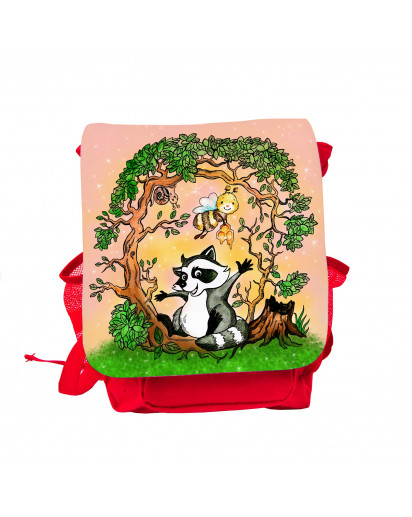 Kinderrucksack Waschbär mit Biene und Schnecke im Wald kids backpack racoon with bee and slug in the forest kgn049