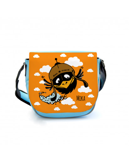 Kindergartentasche Kindertasche Tasche Vogel Rabe mit Wolken und Wunschnamen Kindergarten bag children bag bird raven with clouds and desired name kgt08
