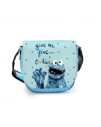 Kindergartentasche Kindertasche Tasche Cookiemonster mit Spruch und Punkten kindergarten bag children bag bag cookiemonster with saying and dots kgt12