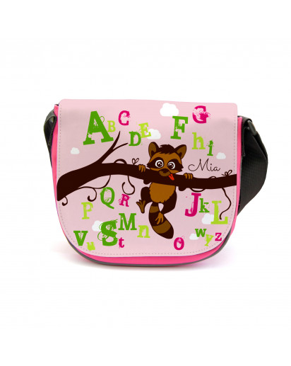 Kindergartentasche Kindertasche Tasche Waschbär auf Zweig ABC mit Wunschnamen kgt18 Kindergarten Bag children bag bag racoon on branch ABC with desired name kgt18