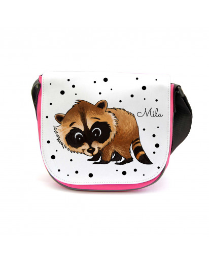 Kindergartentasche Kindertasche Schultasche Schultertasche Umhängetasche Tasche Waschbär mit Punkten Kindergarten Bag children bag sling bag raccoon with dots and custom name kgt20