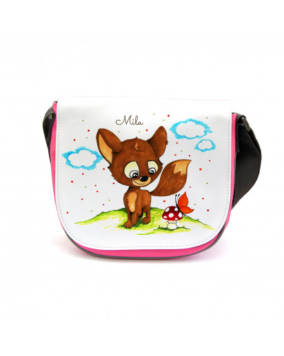 Kindergartentasche Kindertasche Tasche Füchslein mit Schmetterling Pilz und Namen kgt02 Kindergarten Bag children bag bag Fox with butterfly Mushroom and name kgt02