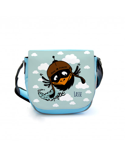 Kindergartentasche Kindertasche Tasche Vogel mit Wolken und Wunschnamen kgt08 Kindergarten Bag children bag bag bird with clouds and desired name kgt08