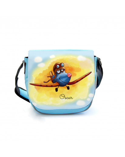 Kindergartentasche Kindertasche Umhängetasche Schultertasche Tasche Flugzeug im Sommerabend mit Wunschnamen kindergarten bag children bag shoulder bag airplane in summer evening with custom name kgt24
