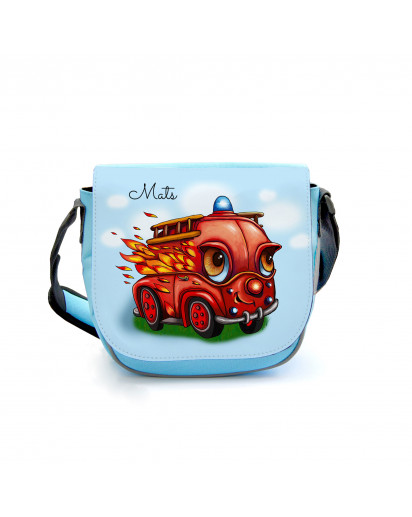 Kindergartentasche Kindertasche Umhängetasche Schultertasche Tasche mit Feuerwehr Feuerwehrauto im Einsatz und Wunschnamen Kindergarten bag children bag shoulder bag fire service fire truck in action with custom name kgt21