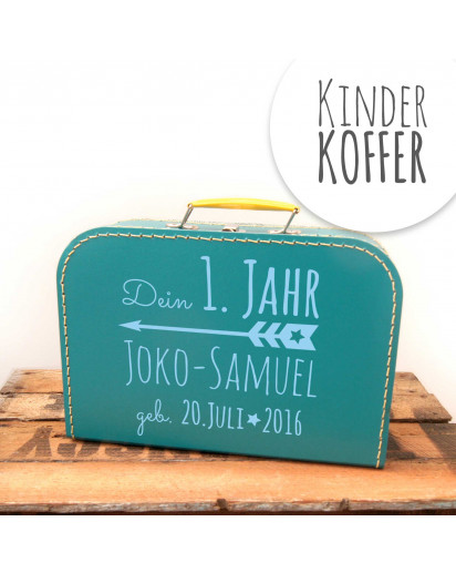 Kinderkoffer Koffer dein erstes Jahr mit Pfeil Wunschnamen und Geburtstag türkis children suitcase your first year with arrow desired name and date of birth turquoise kos1