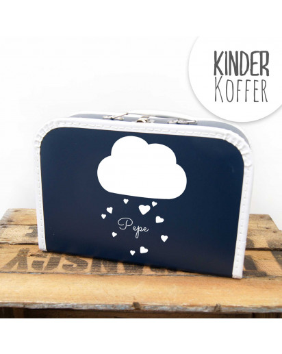 Kinderkoffer Koffer Wolke mit Herzen und Wunschname marineblau children suitcase cloud with hearts and desired name navy blue kos4a