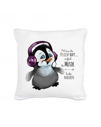 """Kissen Pinguin mit Kopfhörer und Spruch """"Wenn die Pflicht ruft..."""" Pillow penguin with qoute saying """"when the duty calls..."""" ks04"""