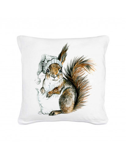 Kissen Eichhörnchen Winterschlaf mit Kissen und Schlafmütze inklusive Füllung Pillow squirrel hibernation with pillow and bedcap including filling ks05