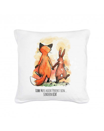 Kissen Dekokissen Dekorationskissen Kissen mit Füllung Hase und Fuchs mit Spruch Liebe muss nicht perfekt sein... sondern echt inklusive Füllung pillow throw pillow decor pillow cuddly cushion cuddle pillow couch pillow pillow with filling cotton pillow f