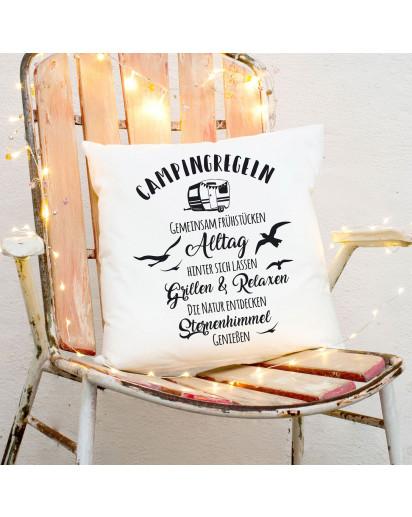 Kissen Wohnwagen Möwen & Spruch Dekokissen Zierkissen bedruckt mit Zitat Motto Camping Regeln ks170