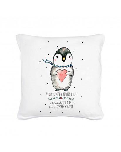 kissen pinguin mit punkten und spruch verlass dich auf. Black Bedroom Furniture Sets. Home Design Ideas