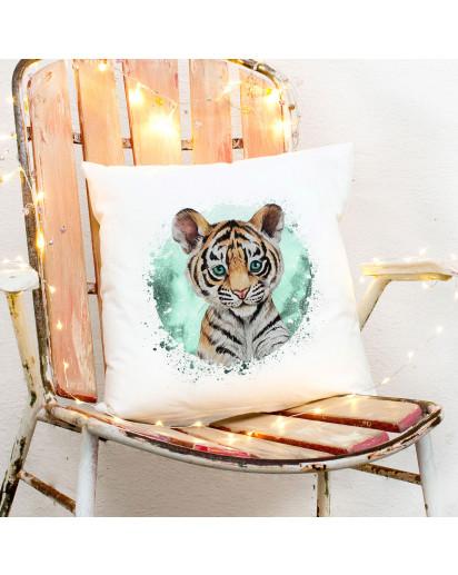 Kissen mit süßen Tiger Tigerchen inklusive Füllung Dekokissen Zierkissen bedruckt Deko ks262