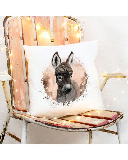 Kissen mit süßen Esel inklusive Füllung Dekokissen Zierkissen bedruckt Deko Geschenk ks263