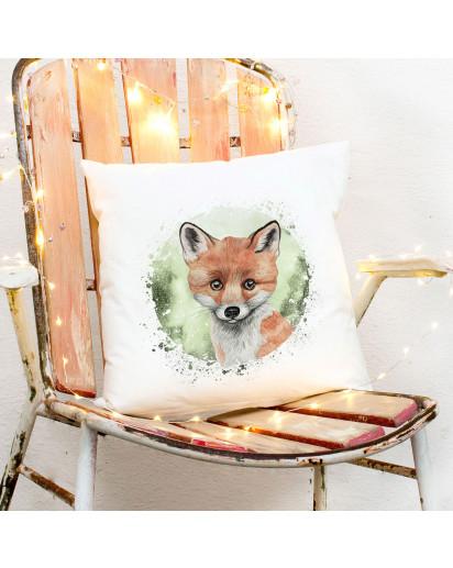 Kissen mit süßen Fuchs inklusive Füllung Dekokissen Zierkissen bedruckt Deko ks266