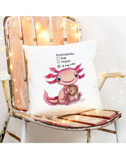 Kissen mit Axolotl Spruch Beziehungsstatus: ich mag Kekse inkl Füllung Dekokissen Geschenk ks274