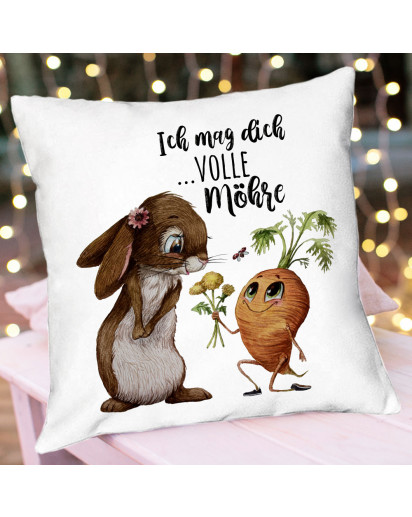 Kissen mit Spruch Ich mag dich volle Möhre & Hase Häschen mit Karotte inkl Füllung Dekokissen Zierkissen Spruchkissen Motto Zitat bedruckt ks327