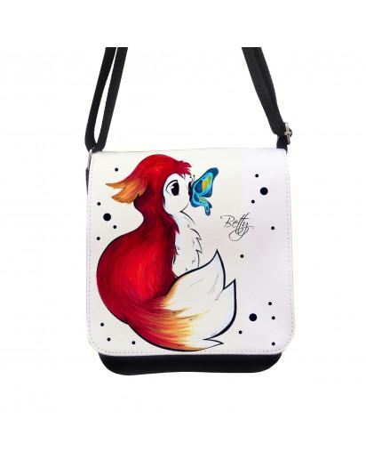 Tasche Kindertasche Handtasche Schultasche Schultertasche Rotfüchschen mit Namen Punkten Schmetterling kt124