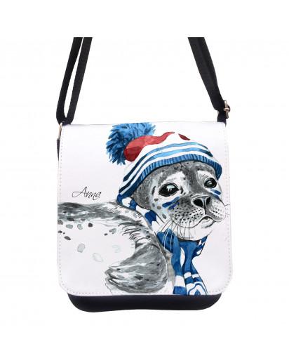 Tasche Kindertasche Handtasche Schultasche Schultertasche Robbe mit Name kt126