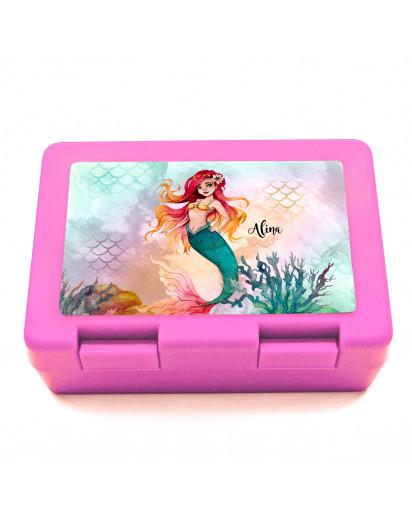 Lunchbox Brotdose in rosa mit Meerjungfrau Korallen & Name Wunschname Geschenk Schulanfang Schule Kindergarten LB18
