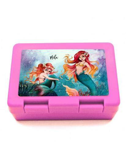 Lunchbox Brotdose in rosa mit Meerjungfrau Geschwister & Name Wunschname Geschenk Schulbrginn Schule Kindergarten LB20
