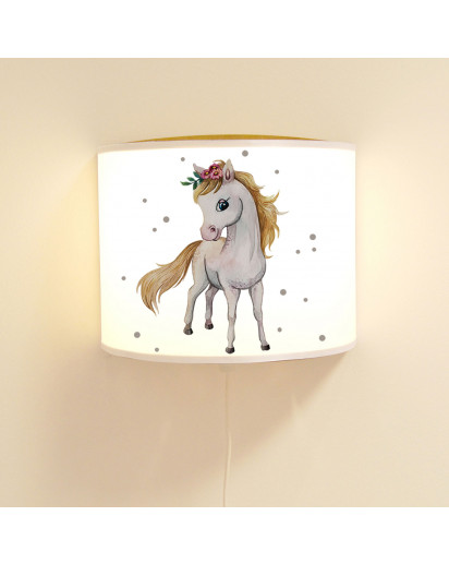 Wandlampe Kinderlampe mit süßen Pferd Pferdchen & Punkte Lampe Motivlampe Leselampe Kinderzimmer ls122